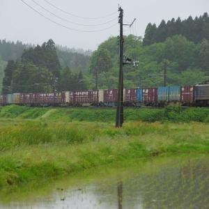 雨に煙る水田地帯にてEF510-507