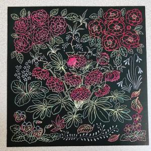 赤い花のスクラッチアート