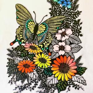 蝶と花の切り絵