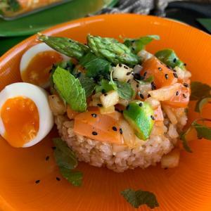 Salmon and Okura Poke Bowl