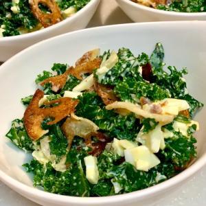 Egg Kale Salad with crispy Renkon
