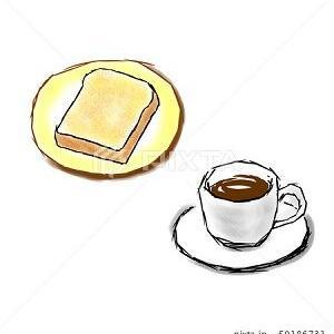 コーヒー トースト カット イラスト素材