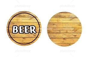 BEER 木材背景 文字 イラスト素材
