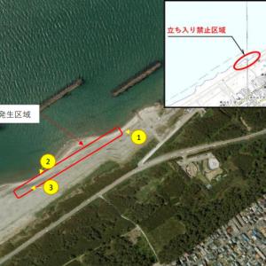 青山海岸の立ち入り禁止区域、未だに立ち入り禁止のままだそうです。