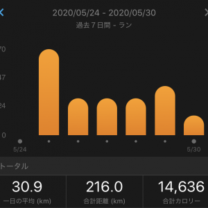 週間走行距離最高更新と初の月間700キロ到達
