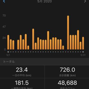 :726キロ 月間最高距離更新