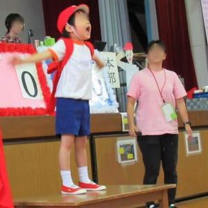 幼稚園の運動会  赤組の応援団長の新しいアングル    2回もupするか(笑)。