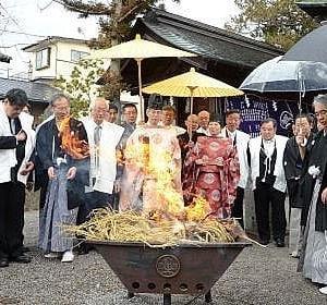 諏訪湖、2季連続「御神渡りなし」 諏訪の八剣神社で注進奉告祭           信濃毎日新聞