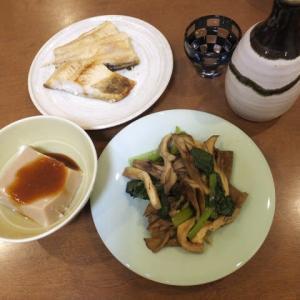 胡麻豆腐・しまほっけ焼きもの・野菜炒め  ある日の酒肴