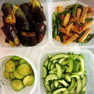 ありがたい夏野菜と青唐辛子味噌。
