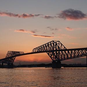 恐竜橋で夕陽