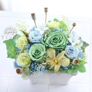 【送別会に】 グリーン、イエロー、ブルーの爽やかアレンジメント