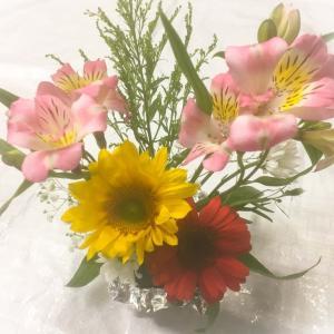 今日は生け花で…。