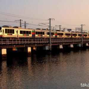 鹿児島本線 多々良川橋梁で朝練(1)朝陽を浴びた特急きらめき他 8月4日撮影