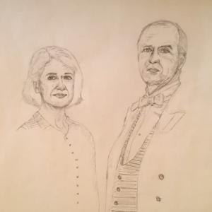 ダウントンアビーの似顔絵。モールズリーとバクスター