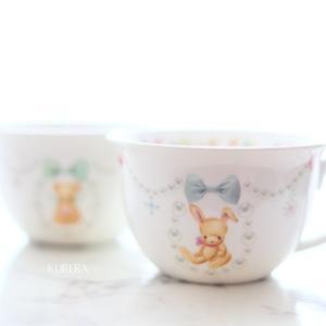 かわいい動物たちのスープカップ~ポーセリンアート生徒さま作品