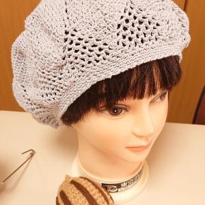 代編みのベレー帽完成しました。