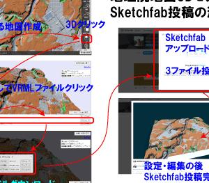 地理院地図3DモデルのSketchfab投稿