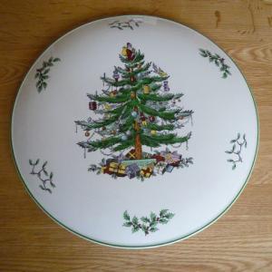 中古品 スポード クリスマスツリー ケーキプレート