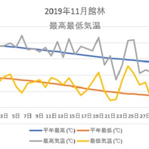 館林11月の気温のグラフ