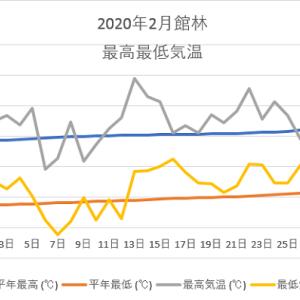 館林2月の気温のグラフ