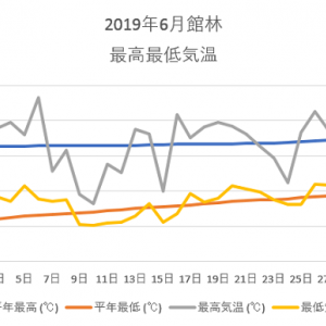 館林6月の気温のグラフ