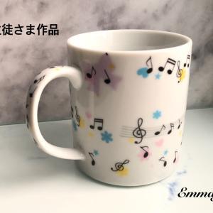 [生徒さま作品] 可愛らしい音符いっぱいマグカップ ( RMちゃん )