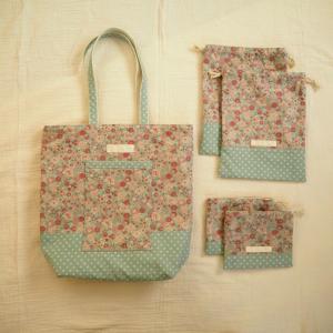 【オーダー】YUWA花柄のバッグと巾着
