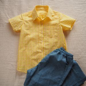 【オーダー】イエローチェックのキッズシャツ