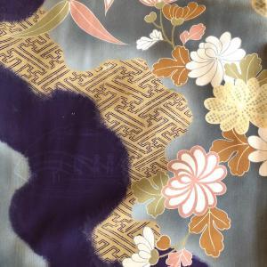 アンティーク 紫蘭と菊の小紋