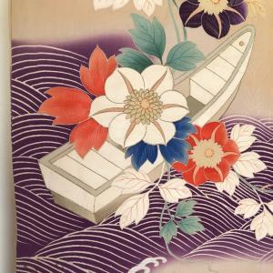 アンティーク 波と花舟の訪問着