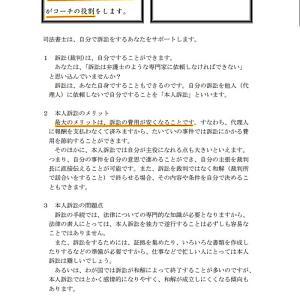 <東京司法書士会 司法書士による本人訴訟サポート>「本人訴訟は、あなたがプレーヤ、司法書士がコーチの役割」「司法書士はあなたと二人三脚」では、弁護士だったら???