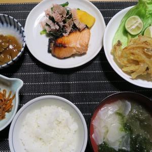銀鮭の粕漬、田舎かき揚げ、なめこの大根おろし、いか人参、健康味噌汁、炊屋食堂の田舎定食。