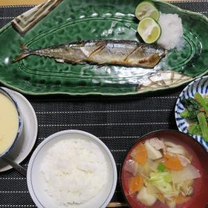 秋刀魚の塩焼きと茶碗蒸しと具だくさんの健康味噌汁・・・