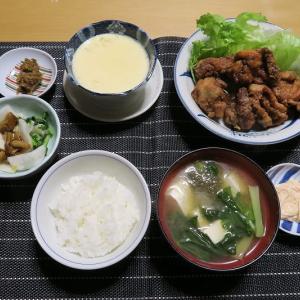 鶏のから揚げとシンプル茶碗蒸し、炊屋食堂の田舎家庭料理menu・・・