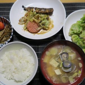 鰯とソーセージとキャベツ、質素倹約、炊屋食堂の一汁三菜定食・・・昭和の味、
