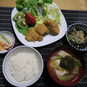 一口カツフライ定食、炊屋食堂の質素倹約一汁三菜、簡単安く旨く・・・昭和の味。