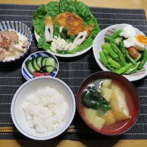 コロッケ田舎定食、炊事や食堂の質素倹約一汁三菜、簡単安く旨く・・・昭和の味。
