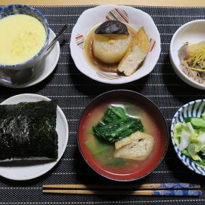 田舎定食、おでんと肉じゃが、炊屋食堂の質素倹約一汁三菜、簡単安く旨く・・・田舎の味。