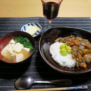 カレ~と味噌汁、炊屋食堂の質素倹約一汁一菜、簡単安く旨く・・・田舎の味。
