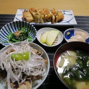チャーシューきざみ丼、炊屋食堂の質素倹約一汁三菜、簡単安く旨く・・・田舎の味。