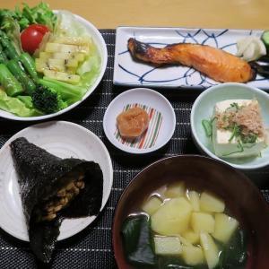 春の田舎定食、炊屋食堂の質素倹約一汁三菜、簡単安く旨く・・・庶民の味。