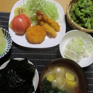 海老フライコロッケサラダ、炊屋食堂の質素倹約一汁三菜、簡単安く旨く・・・庶民の味。