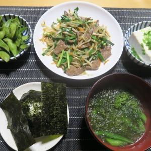 ニラレバ定食、炊屋食堂の質素倹約一汁三菜、簡単安く旨く・・・庶民の味。