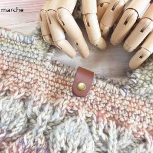 模様編みのバッグ アーモンド完成