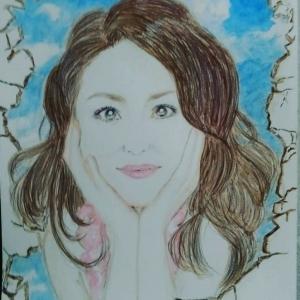 似顔絵95~天井から松田聖子さん