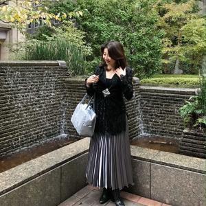50代コーデ☆華やぐブラックトップス×シルバー変形プリーツロングスカート秋のお出かけコーデ
