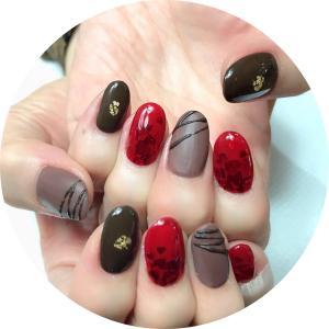 1月の爪化粧☆1月のネイルはチョコと赤いハートのバレンタインネイル