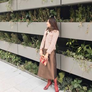 アラ還、50代コーデ☆シャネルジャケット×バッグ×タイツ×靴のサムシングレッドお祝いコーデ