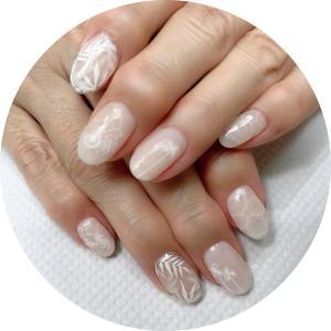 葉月の爪化粧☆8月のネイルは夏の透かし模様のホワイトネイル